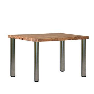 Tisch mit Baumholzplatte und Edelstahlbeine
