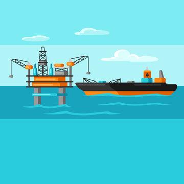 Illustration of oil sea platform and tanker.