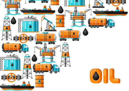 Background design with oil and petrol icons.