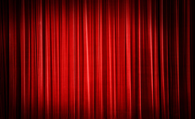 Red curtain background.