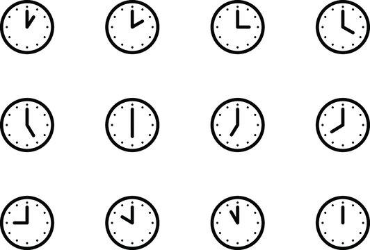 時計のアイコン、ピクトグラム、イラスト、シンプル