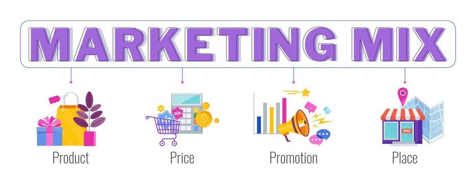 Four 4 PS marketing mix infographic flat vector illustration scheme.
