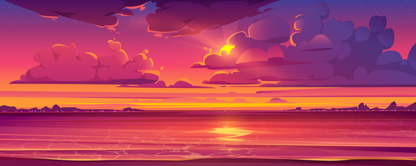Sea sunset. Tropical landscape of ocean with sky, clouds and water in red light of evening sun. Vector cartoon summer seascape with city lights and coastline silhouette on horizon Fotomurales