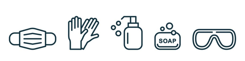 Medical mask, latex gloves, soap, dispenser, protective glasses.