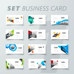 Set Business card template visiting cover