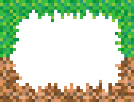 Abstract square pixel mosaic background illustration. Grass and ground wallpaper. Vector. Border. Frame. Background.