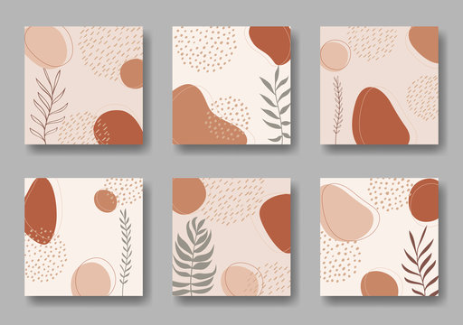 Set of six vector square backgrounds with abstract forms and leaves ornament