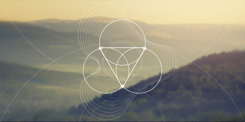 Sacred geometry web banner. Math, nature, and spirituality in nature. The formula of nature. Fototapete