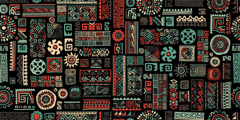 Ethnic handmade ornament, seamless pattern Wall mural
