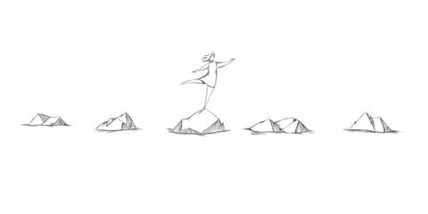 Frau balanciert auf Steinen