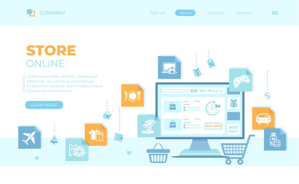 Online Store Shop. Internet virtual shopping, e-commerce, digital marketing. Monitor with webstore on the screen, cart, basket. Can use for web banner, landing page, web template.
