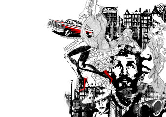noir grunge illustration of the men thoughts about life retro cars and love unknown woman and long sexy legs in the red heels