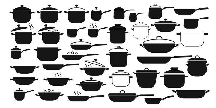 Vector set of kitchen utensils icons. Collection pots and pans with lids.