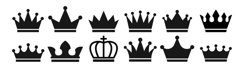 Crown set icon . Vector illustration.