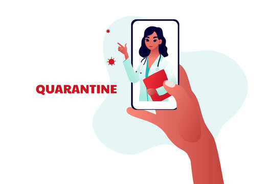 Young beautiful woman doctor on the phone screen. Quarantine type. Covid-19 Prevention recommendation. Coronavirus Outbreak Tips. Vector illustration.