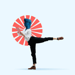 Fit female boy, ballerina headed by blue statue and red circle. Negative space to insert your text. Modern design. Contemporary colorful and conceptual bright art collage with statue's head