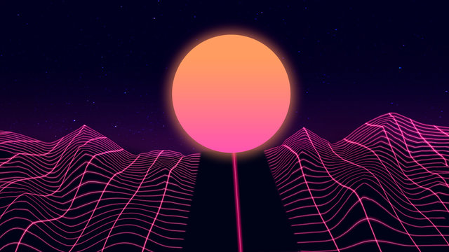 Beautiful mountain evening, synth wave and retro wave, vaporwave futuristic aesthetics. Ultraviolet, glowing neon style. Stylish poster, purpose flyer, bright colors and geometric lines. Resort, chill