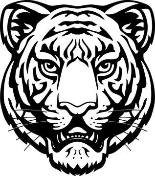 Tiger Head Line Art, Wild Mammal Illustration