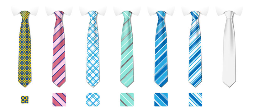 Striped silk neckties templates with textures set. Man colored tie set. Tie mockup with different fashion pattern. Vector illustration