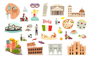 Wall Mural - Italy landmarks vector set. Isolated on white background