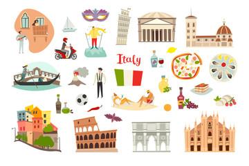Fototapete - Italy landmarks vector set. Isolated on white background