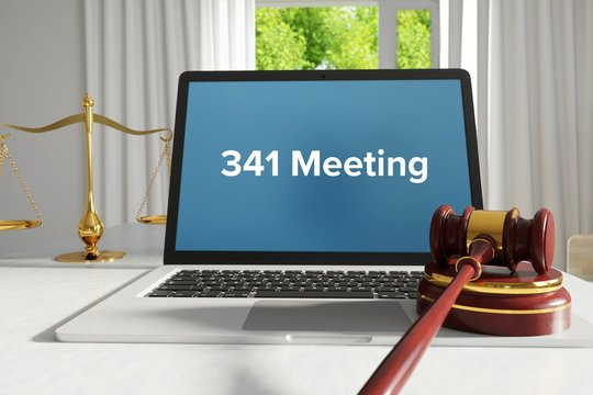 341 Meeting – Law, Judgment, Web. Laptop in the office with term on the screen. Hammer, Libra, Lawyer.