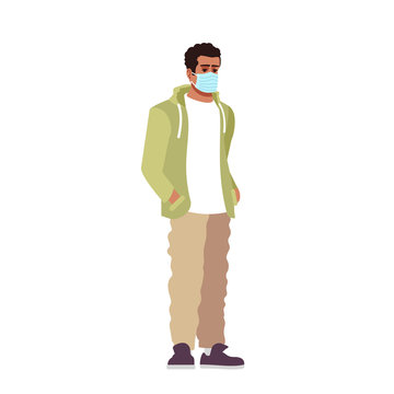 Guy in surgical mask semi flat RGB color vector illustration. Young latino man in pandemic time isolated cartoon character on white background. Dangerous covid19 virus and air pollution protection