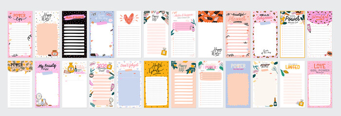 Fototapeta Collection of weekly or daily planner, note paper, to do list, stickers templates decorated by cute beauty cosmetic illustrations and trendy lettering. Trendy scheduler or organizer. Flat vector