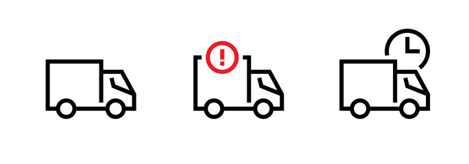 Set of blank, attention and waiting cargo delivery truck icons. Editable line vector.
