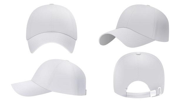 White cap Mockup, realistic style
