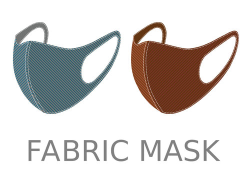Two colorful fabric face masks isolated on white background. If you are well the fabric mask is fine enough to protect you from viruses or dust and allergy.