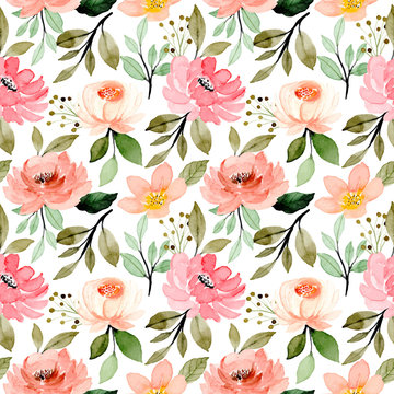 pink flower blossom watercolor seamless pattern