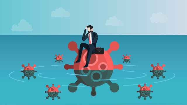 Castaway Businessman Feeling Anxiety While Sitting on Virus Island. Meanning is Business People Feel Stress About Coronavirus 2019 or Covid-19 Infection Crisis Effect. Vector Illustration EPS 10