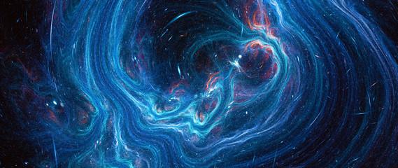 Fototapeta Blue glowing deep space stream obraz