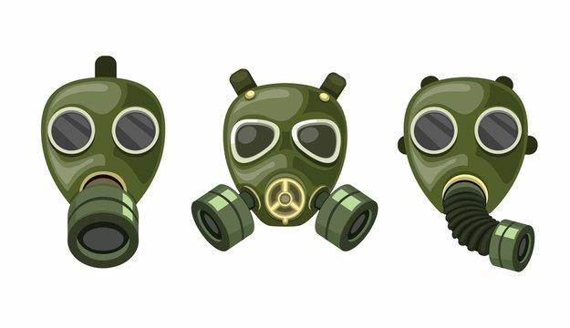 army gas mask respirator collection set vector