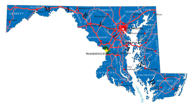 Maryland state political map