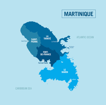 Martinique, Martinica Island country political map. Detailed vector illustration with isolated provinces, regions, departments and cities.
