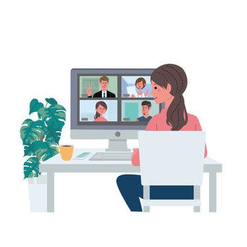 リモートワーク オンライン会議 在宅勤務 テレワーク イラスト