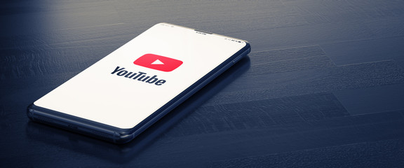 KYIV, UKRAINE-JANUARY, 2020: Youtube on Smart Phone Screen. Youtube - Most Popular Messenger for Communication Between People in Internet. 3D.
