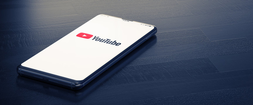 KYIV, UKRAINE-JANUARY, 2020: Youtube on Cellphone Screen. Youtube - Most Popular Messenger for Communication Between People in Internet. 3D Render.