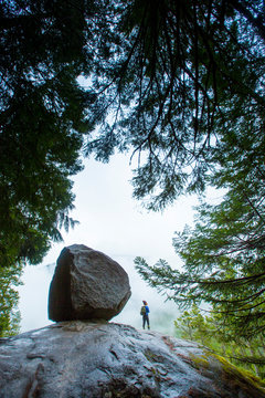 Woman hiker standing next to big boulder with trees framing her in the fog of Squamish.