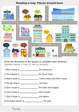 Reading a map: Places around town - Giving direction - Worksheet for education.