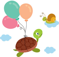 Turtle flying with balloons in sky and snail on cloud