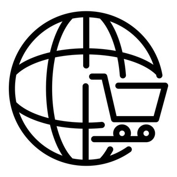 Global shop cart icon. Outline global shop cart vector icon for web design isolated on white background