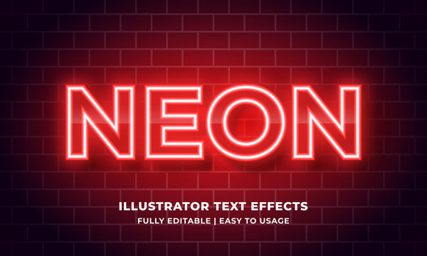 Red Neon 3d Text Effect