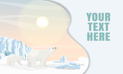 Landing page template with multi-level shadows and the image of a polar bear and her little bear walking in the snow and ice at dawn. Realistic vector