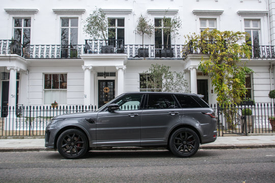 Range Rover 4x4 car parked on attractive London street