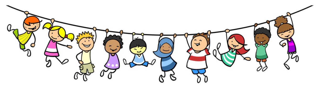 Viele Cartoon Kinder hängen an Trennlinie als Dekoration