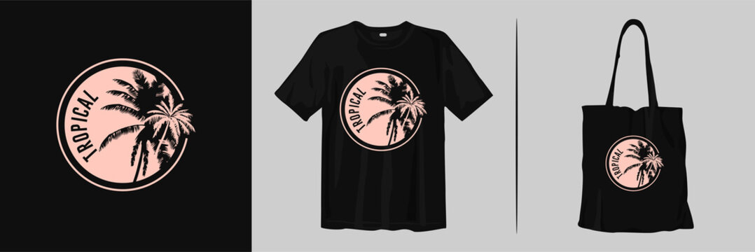 Tropical with palm leaves silhouettes for print t-shirt design and tote bag merchandise
