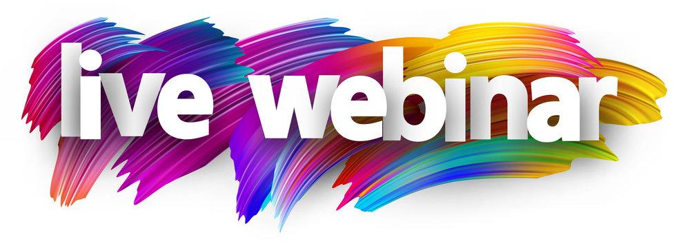 Live webinar paper sign over brush strokes background.